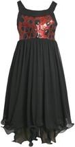 Black Red Sequin and Chiffon Hi-Lo Wire Hem Dress BK4BY Bonnie Jean Tween Gir...