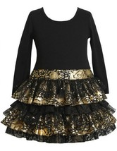 Little Girls 2T-6X Black and Gold Knit to Metallic Tiered Drop Waist Dress