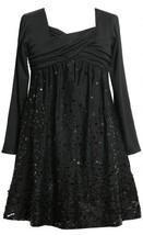 Black Long-Sleeve Cross Over Sequin Border Knit Dress BK3NA Bonnie Jean Littl...