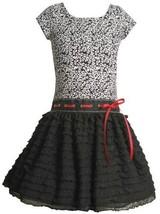 Bonnie Jean Little Girls' Drop Waist Ruffles Skirt With Print Top, Black/Whit...