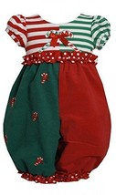 Bonnie Jean Baby Girls 3M-24M Red Green ColorBlock Candy Cane Romper (3/6M, Red)