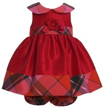 Bonnie Baby Baby-Girls Newborn Shantung with Plaid Trim Dress RD0SA, Red