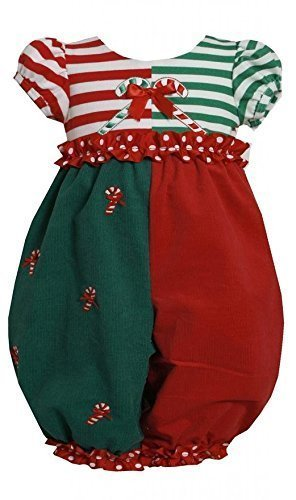 Bonnie Jean Baby-Girls 3M-24M Red Green ColorBlock Candy Cane Romper (18 Mont...