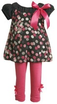 Bonnie Jean Little Girls' Multi Dot Top To Fuschia Legging, Multi, 2T [Apparel]