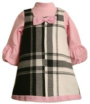 Black/White/Pink Positive-Negative Plaid Jumper Dress OR1TF,Bonnie Jean Baby-...