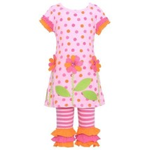 Bonnie Jean Baby Girls Flower Dotted Dress Outfit w/ Leggings, Pink, 3-6M Bon...