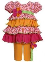Orange Leopard Animal Print Tier Knit Dress/Legging Set OR1MT, Orange, Bonnie...