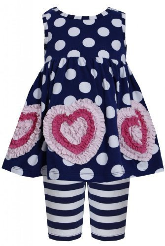 Bonnie Jean Baby-Girls NEWBORN Dots Stripes Bonaz Heart Dress/Legging Set (6-...