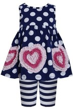 Blue White Dots Stripes Bonaz Heart Dress/Legging Set NV1MT, Navy, Bonnie Jea...
