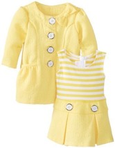 Bonnie Baby Baby-Girls Newborn Jacquard Coat Set, Yellow, 3-6 Months [Apparel]