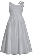 Tween Big Girls 7-16 White Asymmetric One Shoulder Communion Dress (10, White)