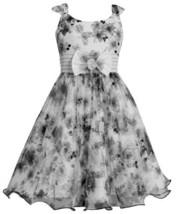Grey Ivory Floral Print Mesh Over Floral Print Shantung Dress GR4BA, Grey, Bo...