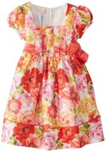 Bonnie Jean Little Girls' Printed Shantung Dress, Coral, 4T [Apparel]