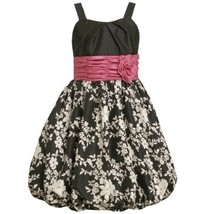 Size-14.5 BNJ-1833R BLACK WHITE PINK FLORAL PRINT SHANTUNG BUBBLE SKIRT Speci...