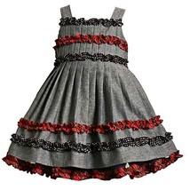 Bonnie Jean Baby Girls 3M-24M Blue Chambray Ruffles Dress (12 Months, Chambray)
