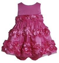 Flutter Die Cut Bonaz Rosette Mesh Overlay Dress FU0CH,Bonnie Jean Baby-Newbo...