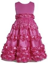 Fuchsia-Pink Bonaz Rosette Border Mesh Overlay Dress FU4MB, Fuchsia, Bonnie J...