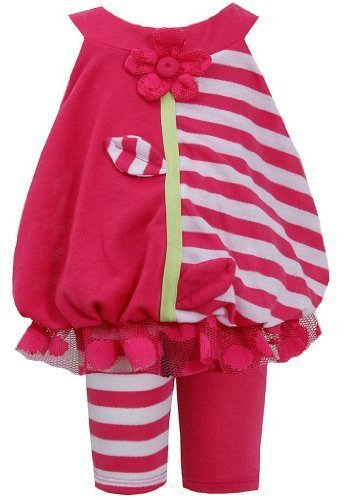 Fuchsia Solid Stripe Flower Strem Applique Dress/Legging Set FU1MH, Fuchsia, ...