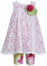 Pink White Yoke Neckline Lace Overlay Dress/Legging Set, Bonnie Baby