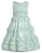Mint-Blue Bonaz Rosette Border Mesh Overlay Dress MI4MB, Mint, Bonnie Jean Tw...