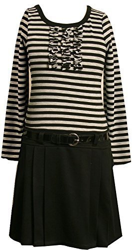Bonnie Jean Little Girls' 2T-6X Stripe Knit Bodice To Black Skirt (2T, Grey)