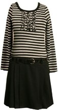 Bonnie Jean  Big Girls' Stripe Knit Bodice To Black Skirt,Grey,7 [Apparel] Bo...