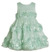 Mint-Blue Bonaz Rosette Border Mesh Overlay Dress MI2BU, Mint, Bonnie Jean Li...