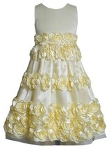 Yellow Bonaz Rosette Border Mesh Overlay Dress YL4MB, Yellow, Bonnie Jean Twe...
