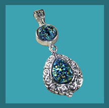 Blue Red Gold Titanium DRUZY Gemstone Round & Pear Sterling Silver Pendant - $34.99