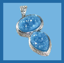 Light Blue Titanium DRUZY Gemstone Oval & Pear Sterling Silver Pendant - $34.99