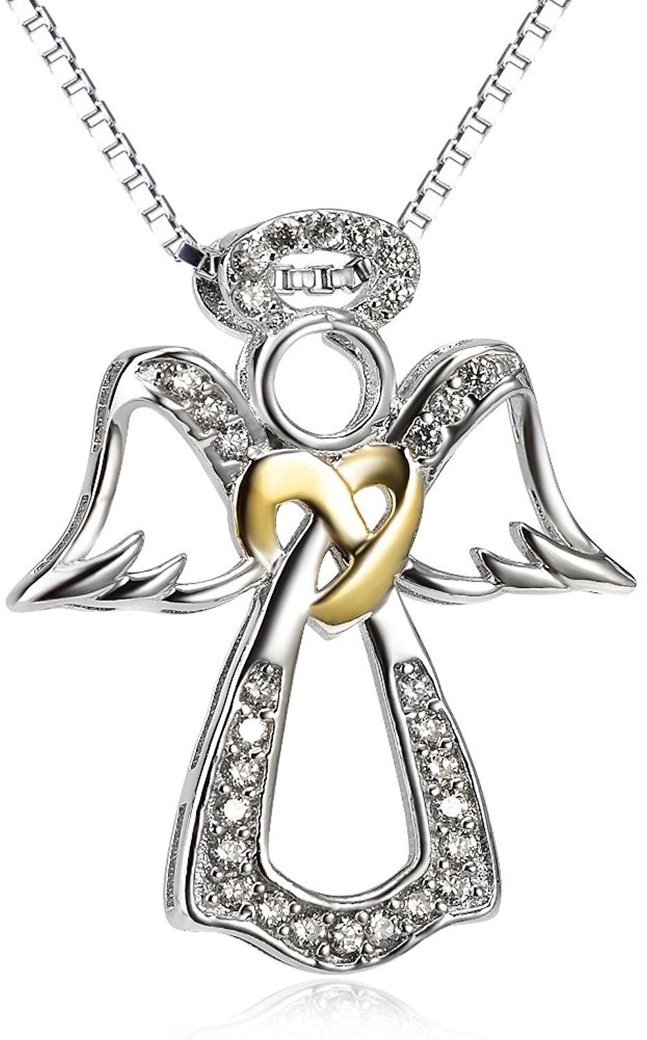 Primary image for S925 Sterling Silver Two-Tone Angel Wings Pendant Necklace For Women 18 Inches