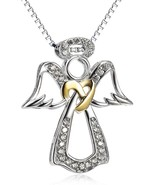 S925 Sterling Silver Two-Tone Angel Wings Pendant Necklace For Women 18 ... - $73.75