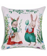 Smiry Easter Time Throw Pillow Covers Rabbit Couple and Eggs Decorative ... - $8.10