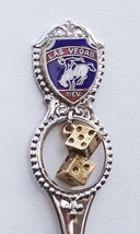 Collector Souvenir Spoon USA Nevada Las Vegas Cowboy Bucking Bronco Dice Charm - $2.99