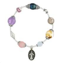 Stretch bracelet gemstone & silver beads virgin mary charm size adjustab... - $38.43
