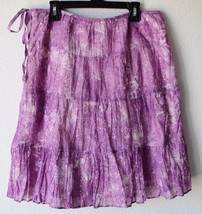 Talbots Women's Summer Cotton Crinkle Tiered Lined Purple White Skirt 4P, A Line - $24.75
