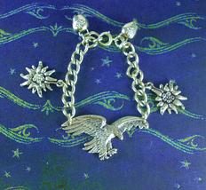 STERLING Austrian Empire bracelet Eagle heavy Chain Edelweiss & Cowbells... - $285.00
