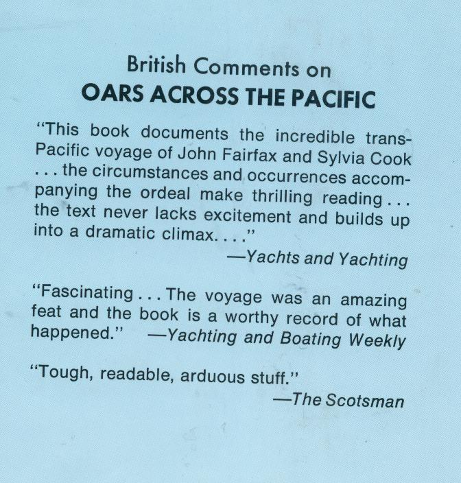 Fairfax/Cook  OARS ACROSS THE PACIFIC  1973  hb/dj  1st U.S.