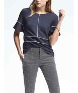 Banana Republic Piped Flounce Top, Navy, Stretch Polyester, Size L, NWT - $58.00