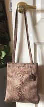 Nine West Brown & Tan Silky Snakeskin Print Purse Handbag Shoulder Bag ~Euc~ - $18.00