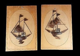 Coconut Shell Wood Burlap Pictures Boats People Phillipines Vintage Dime... - $9.89