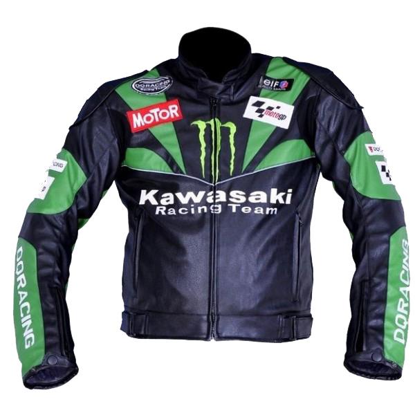 Kawasaki Team Black Green Sports Biker Leather Jacket Men's, used for sale  USA
