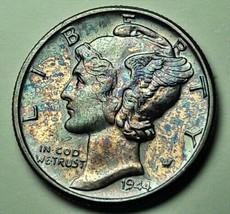 WONDERFUL TONED 1944 P USA MERCURY DIME 10 CENTS BU SILVER UNC COLOR (DR) - $25.99