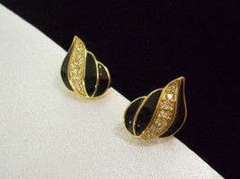 NAPIER BLACK Enamel Rhinestones Gold Plate Teardrop PIERCED Earrings Vin... - $19.79