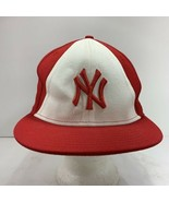 New Era 59Fifty NY Yankees Baseball Fitted Cap Hat Red White Size 7 3/8 MLB - $32.64