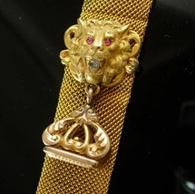 Antique Lion Fob watch chain Ruby Rhinestone eyes and mouth ornate top vest suit - $225.00