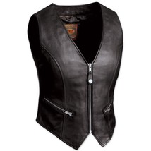 Fmc The Montana Ladies Black Zipper Front Crop Leather Vest, Fil515 Csl - $94.04+