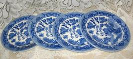 Blue Willow-Flow Blue-Dessert Plate - Set of 4 -Japan - $13.00