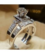 Silver .925s White CZ 2PC Engagement Wedding  Rings Set Sz 7 or 9 - $25.00