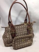 Nine West Brown Patterned Shoulder Bag and Wallet Bronze/Leather Accents - $28.04